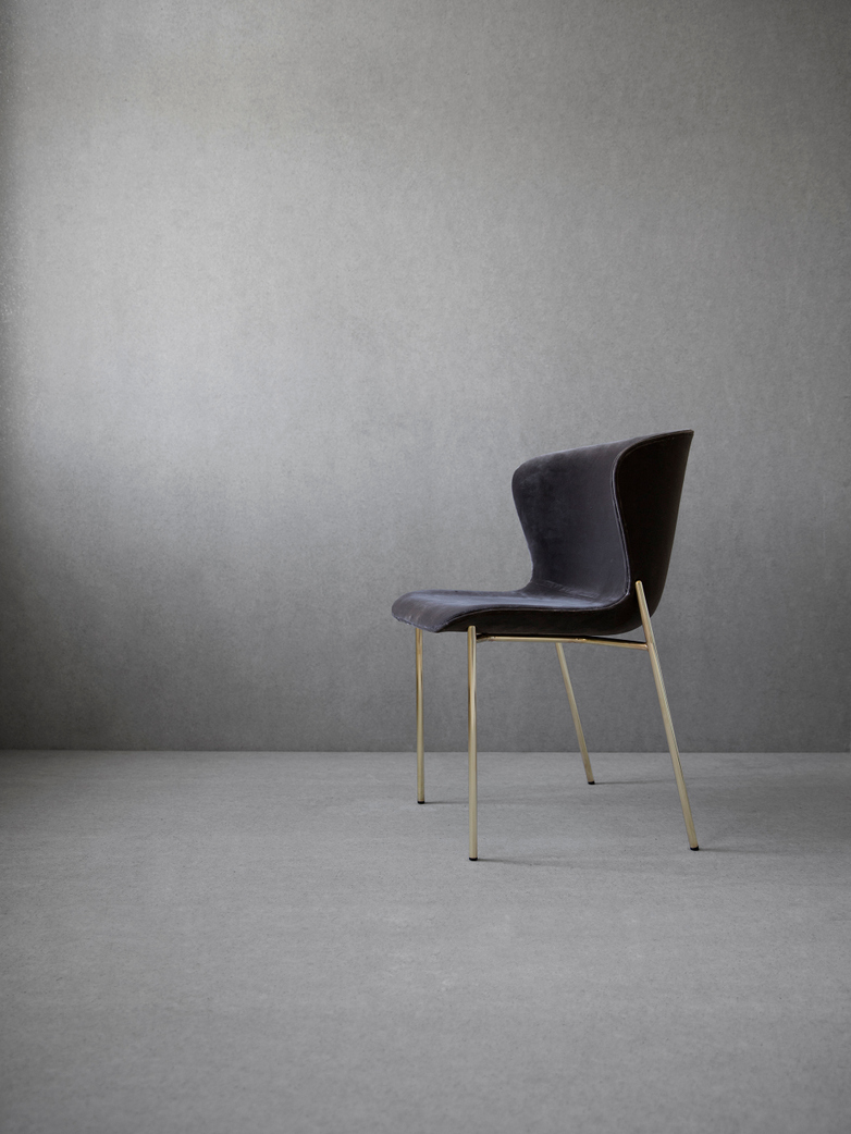 La Pipe Chair Velvet Blue Grey - Brass
