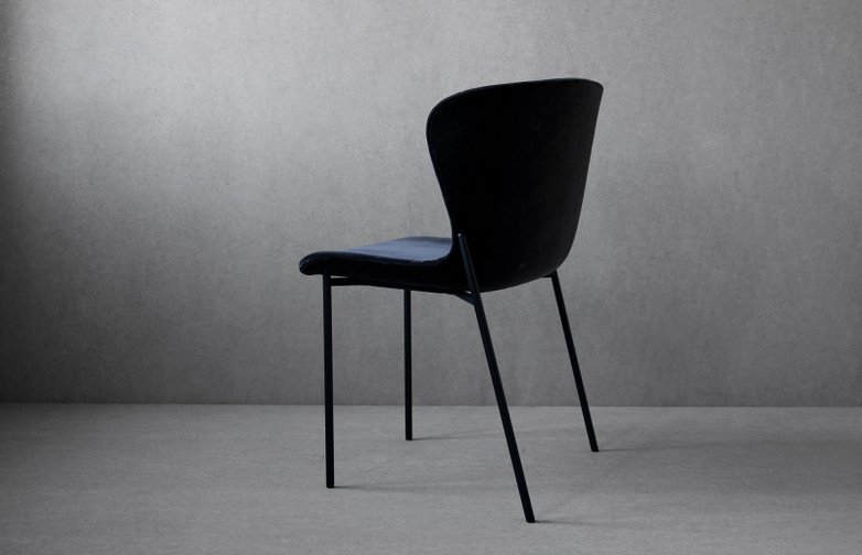 La Pipe Chair Velvet Dark Grey - Black Frame