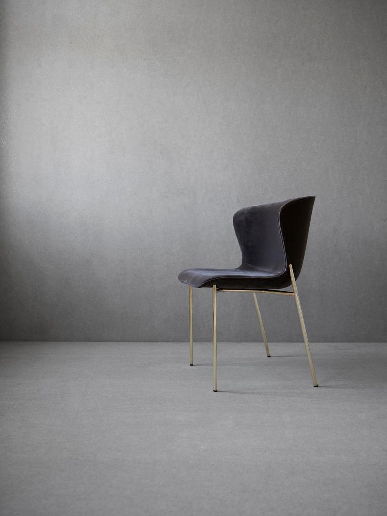 La Pipe Chair Velvet Kitt - Brass Frame