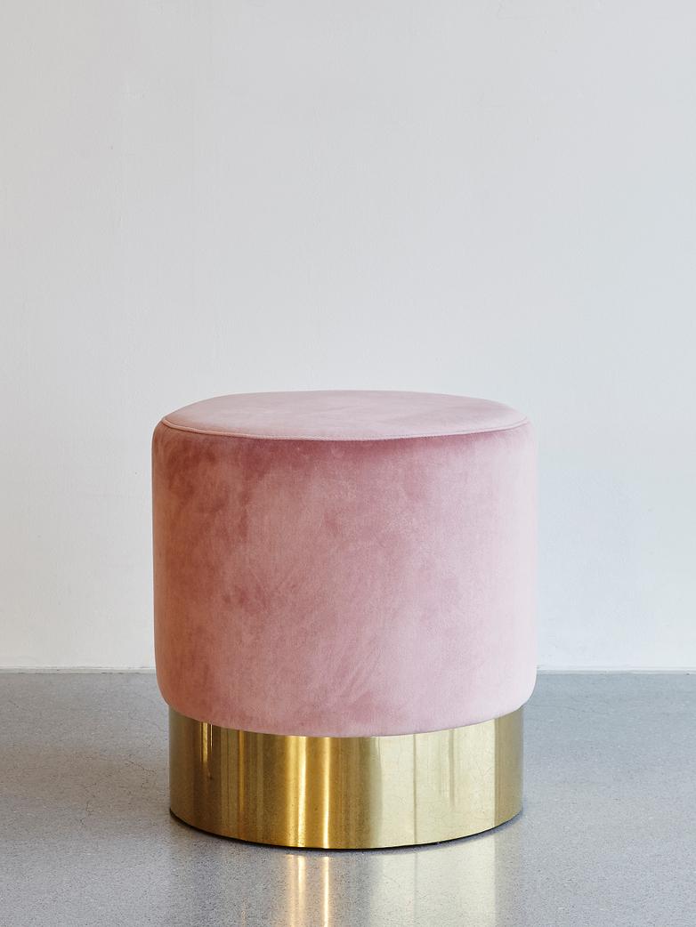 Velvet Stool Pink