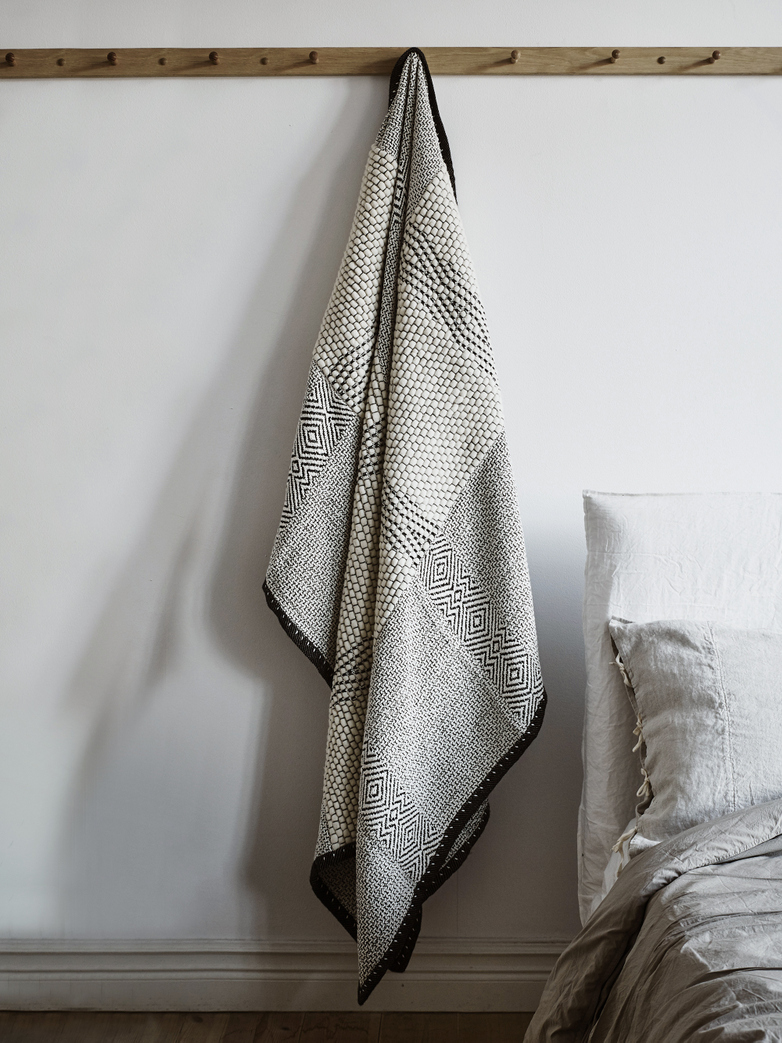Wool & Cotton Throw Noir Et Blanc
