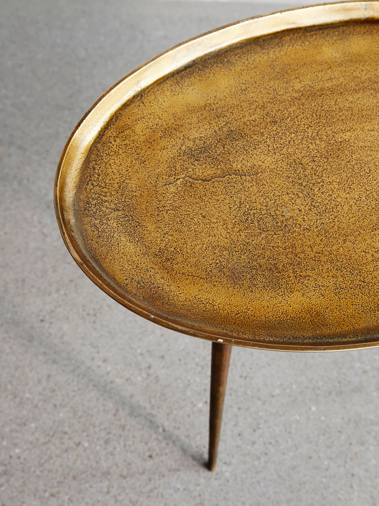 Sidetable Oval Antique Brass