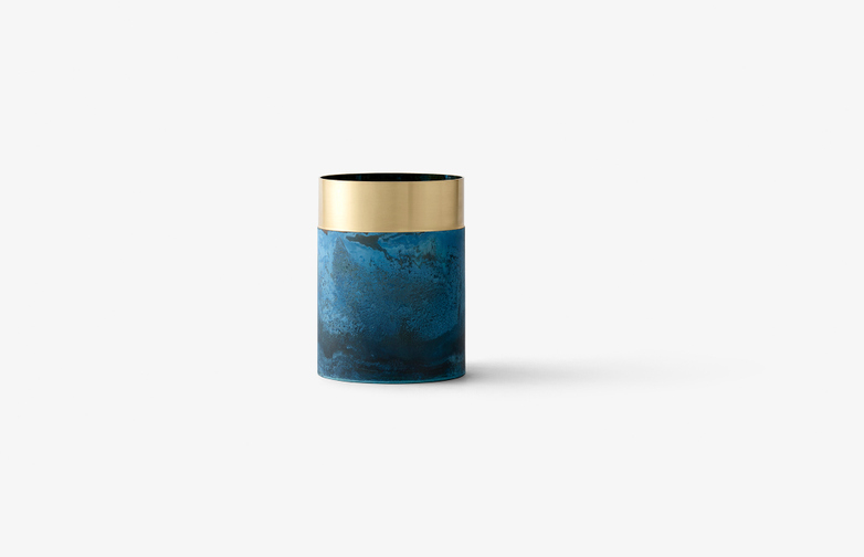 True Colour Vase Blue - Brass