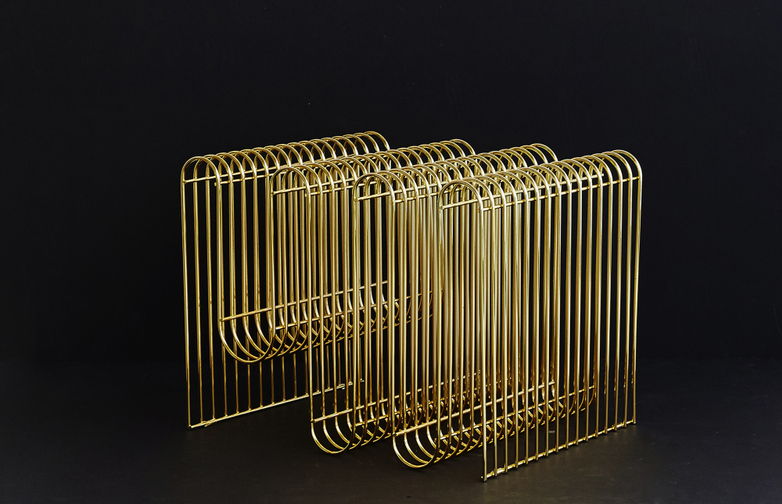 Curva Magazine Holder Brass