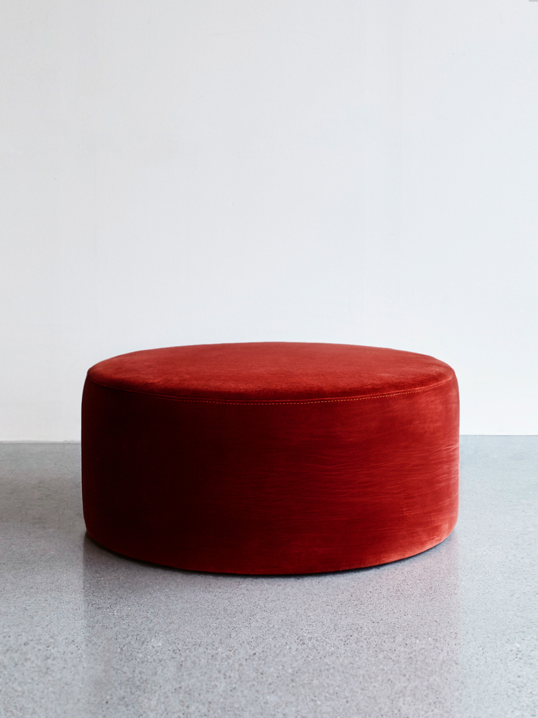 Round Pouf Red Ruby