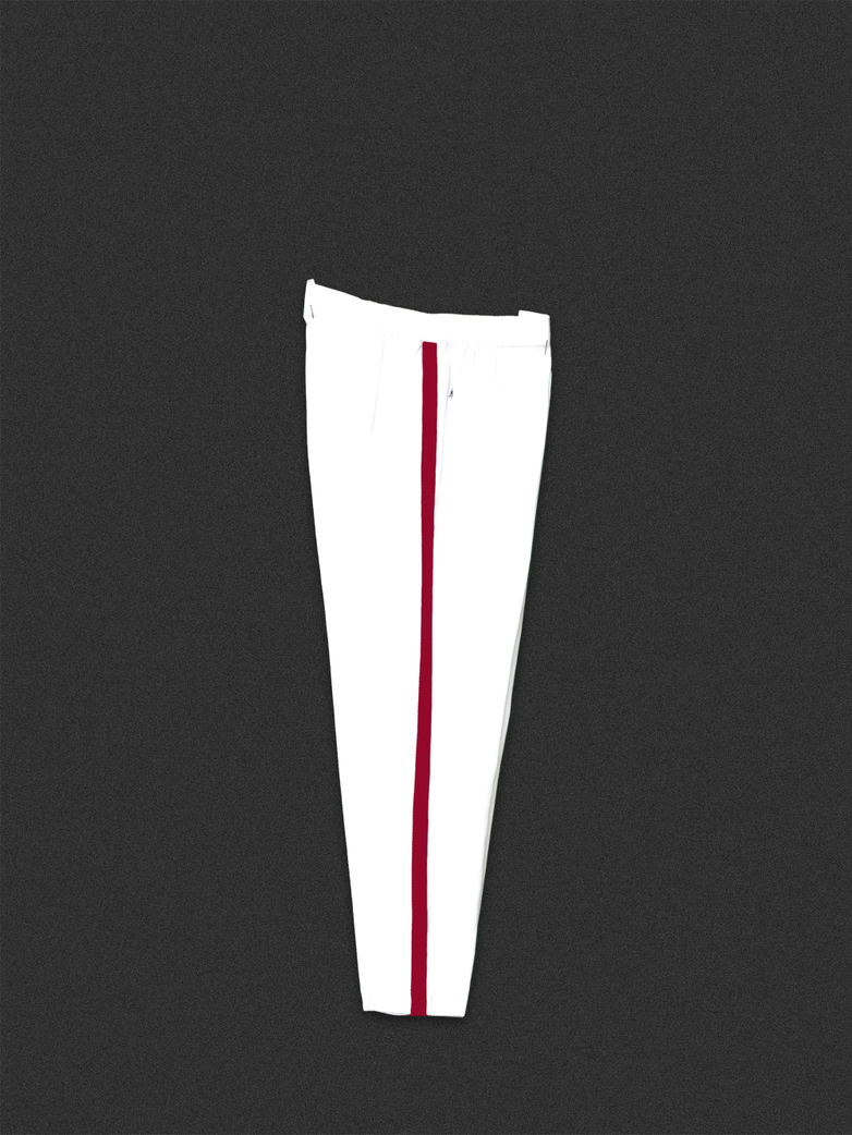 Button Trousers White/Red