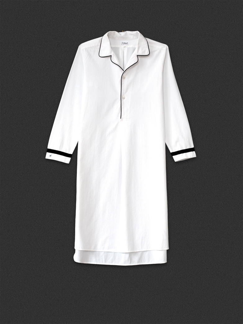 Long Night Shirt White/Black
