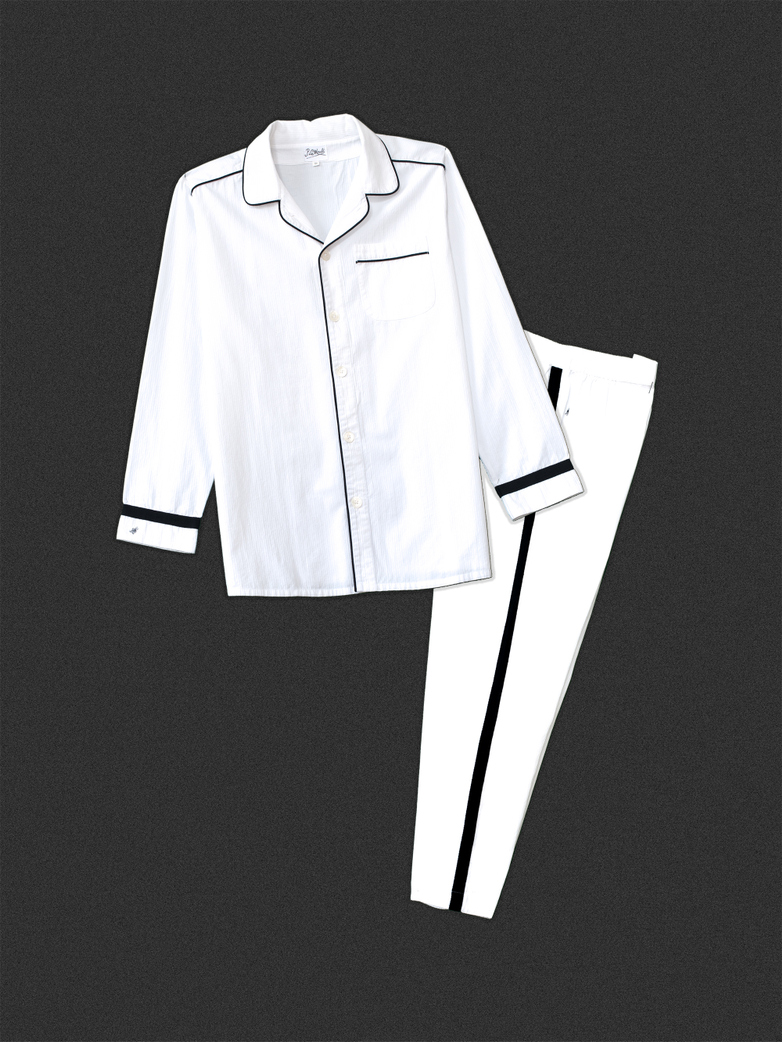 Pyjama Shirt White/Black