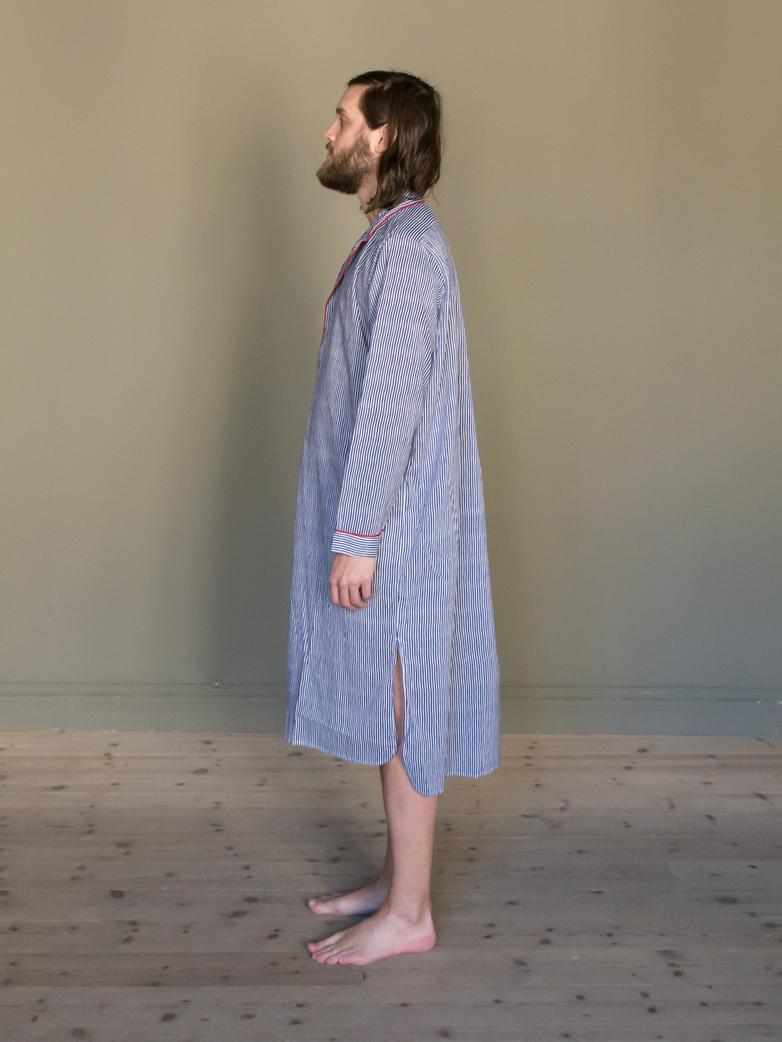 Long Shirt Thin Waves Blue/White