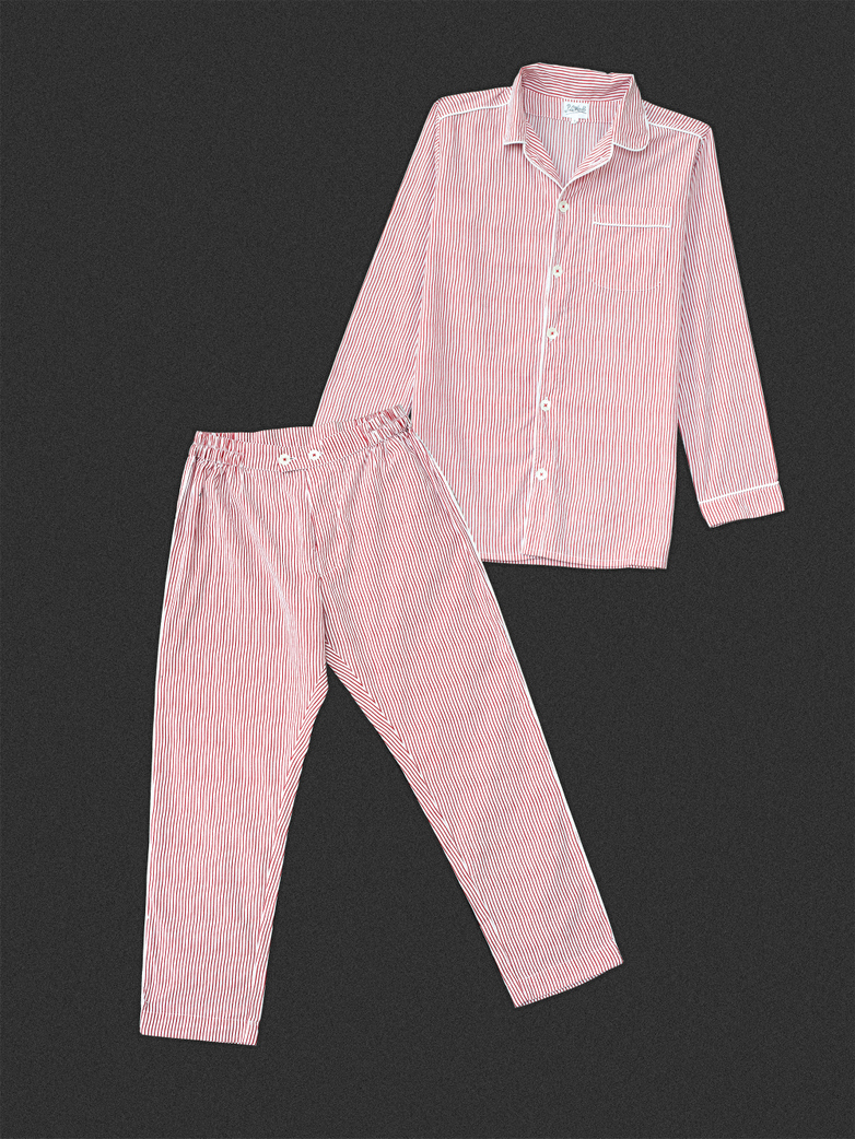 Pyjama Thin Waves White/Red