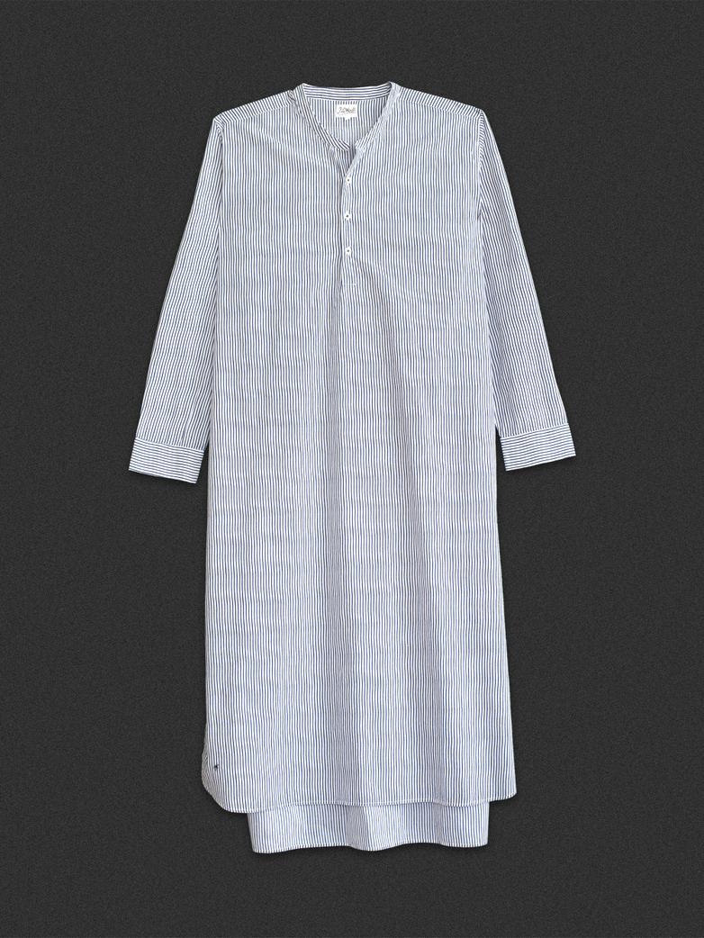 Granddad Shirt Thin Waves White/Blue