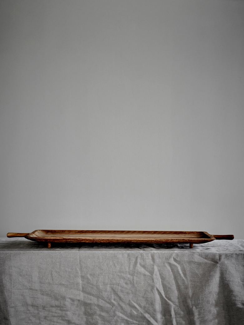 Large Carved Oblong Tray with Handles