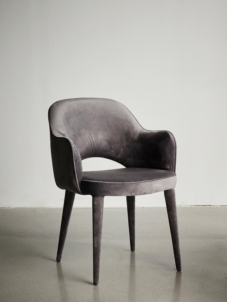 Cosy Velvet Armchair Grey