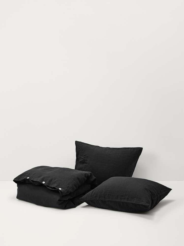 Stone Washed Linen - Jet Black
