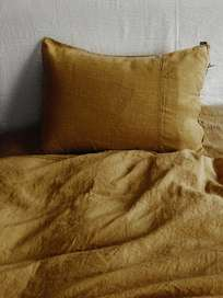Selena Washed Linen Bed Set Daim