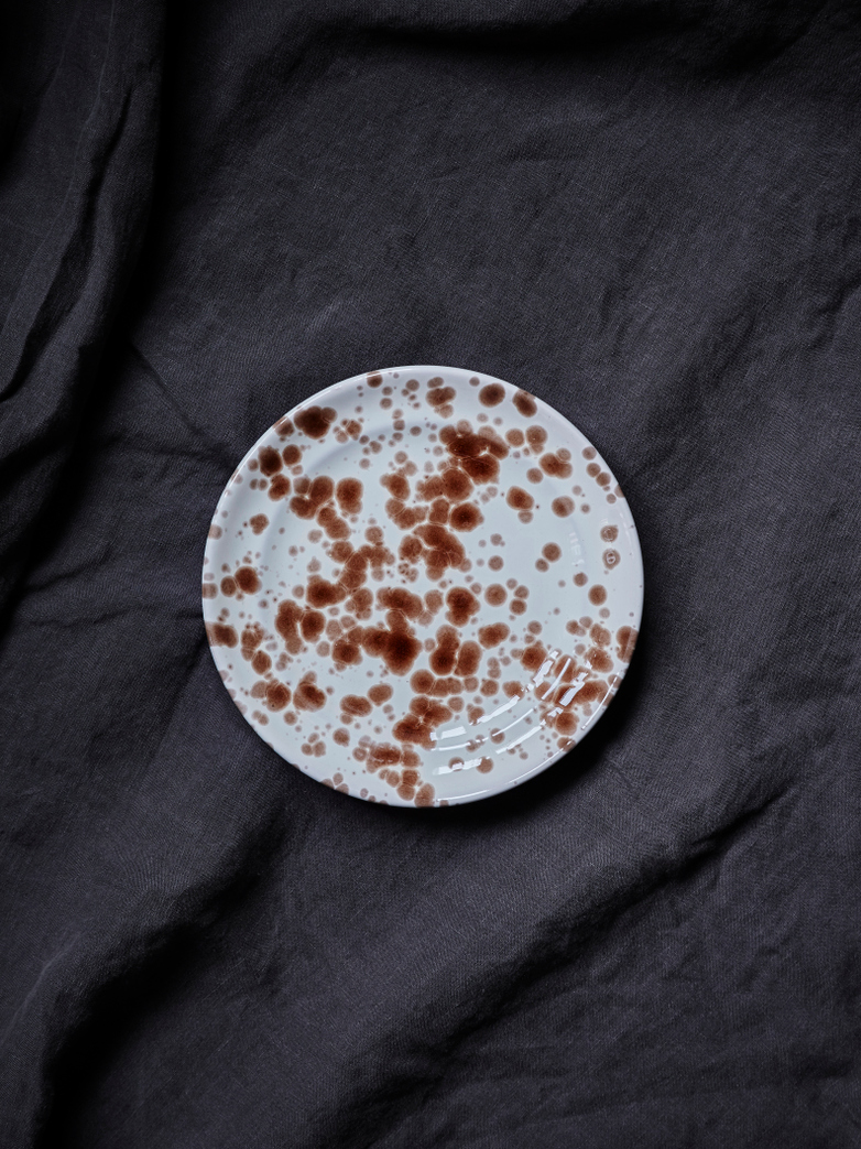 Spruzzi Vivente - Plate 18,5 cm - Brown on Creme