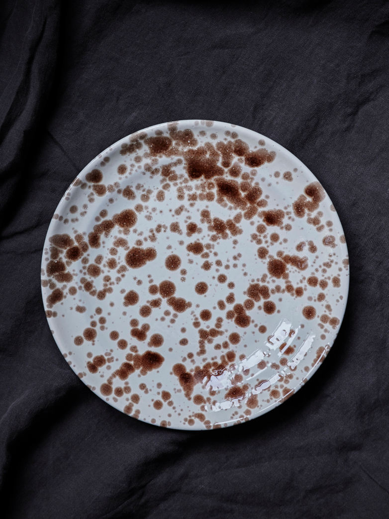 Spruzzi Vivente - Dinner Plate 28 cm - Brown on Creme