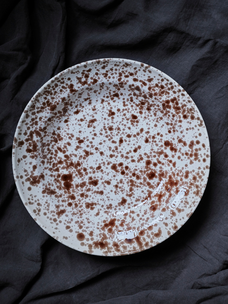 Spruzzi Vivente - Serving Bowl Brown on Creme - Large
