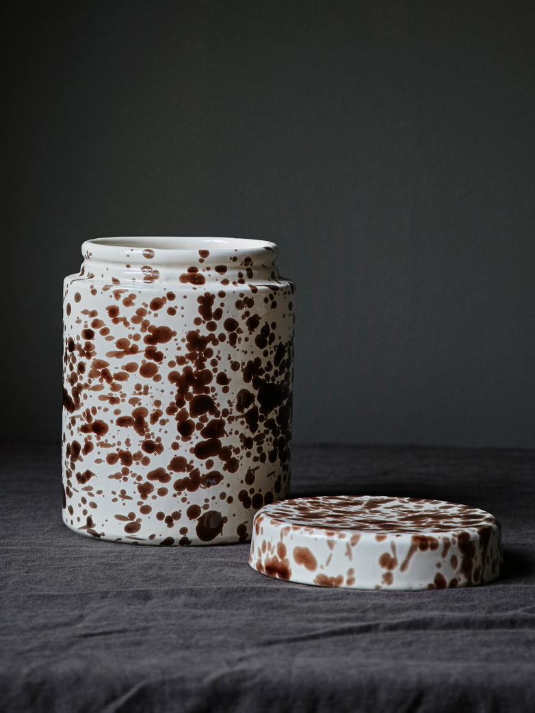 Spruzzi Vivente - Jar with Lid - Brown on Creme