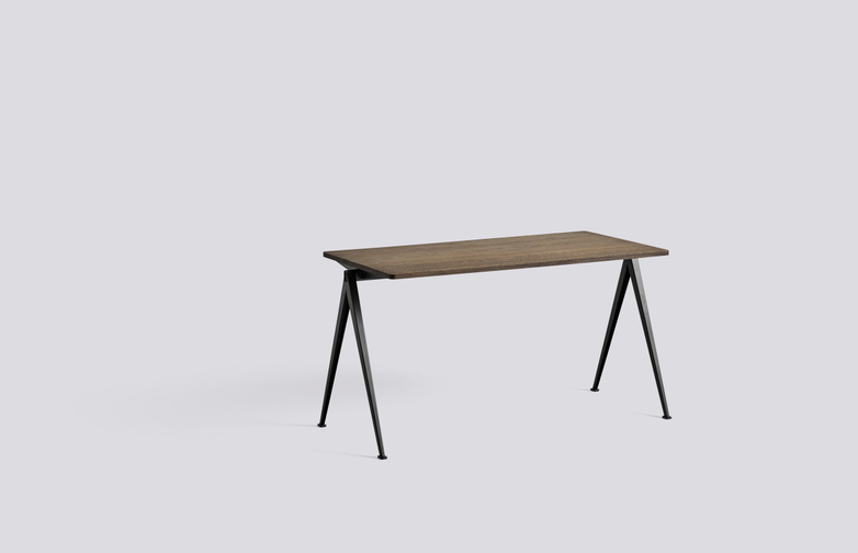 Smoked Oiled Solid Oak - 140 x 65 cm - Black Powder Coated Steel