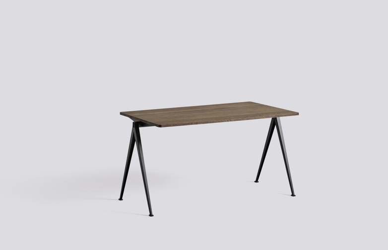 Smoked Oiled Solid Oak - 140 x75 cm - Black Powder Coated Steel