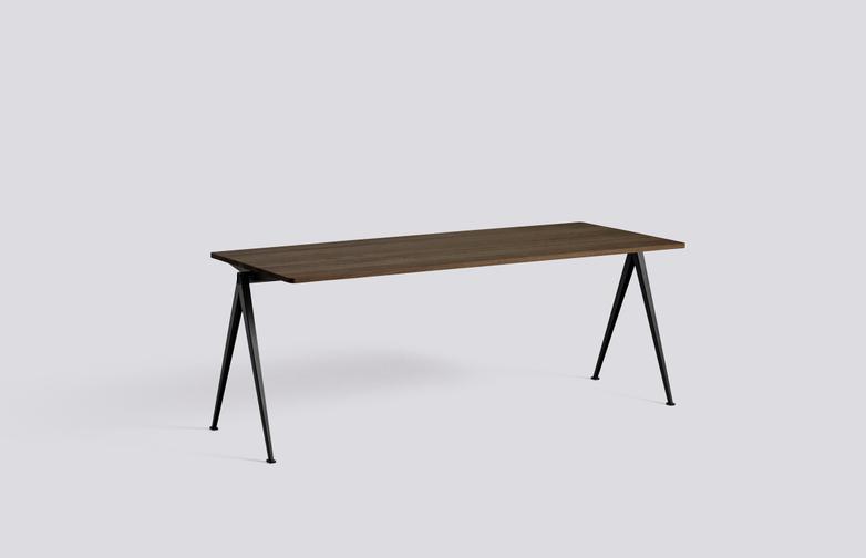 Smoked Oiled Solid Oak - 200 x 75 cm - Black Powder Coated Steel