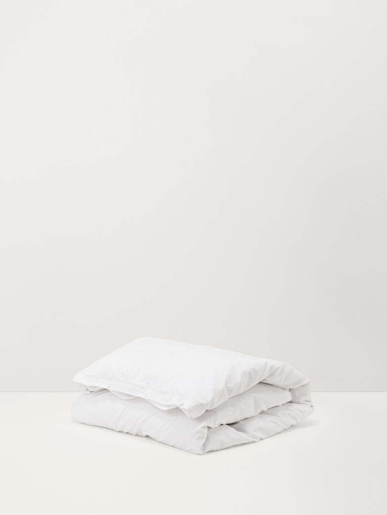 Stone Washed Flat Sheet Cotton Percale Broken White 180x260