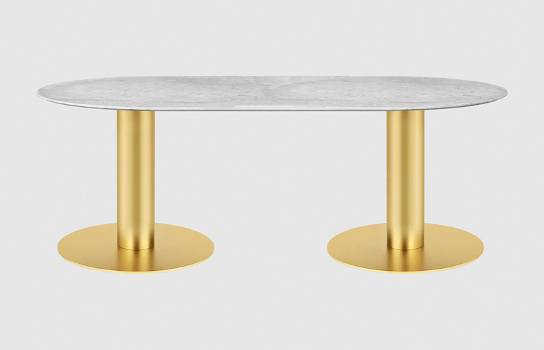 White Marble Top - 100 x 200 cm - Brass Frame