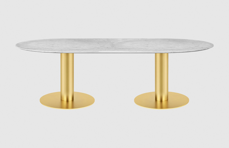 White Marble Top - 130 x 240 cm - Brass Frame