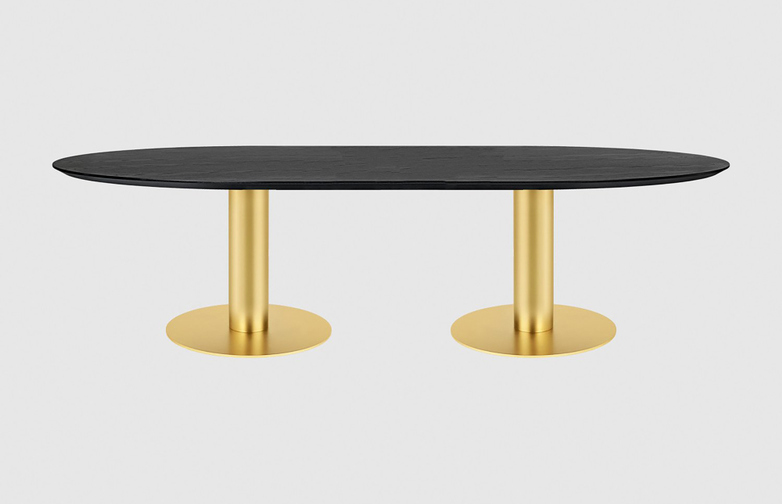 Black Stained Ash Top - 30 x 280 cm - Brass Frame