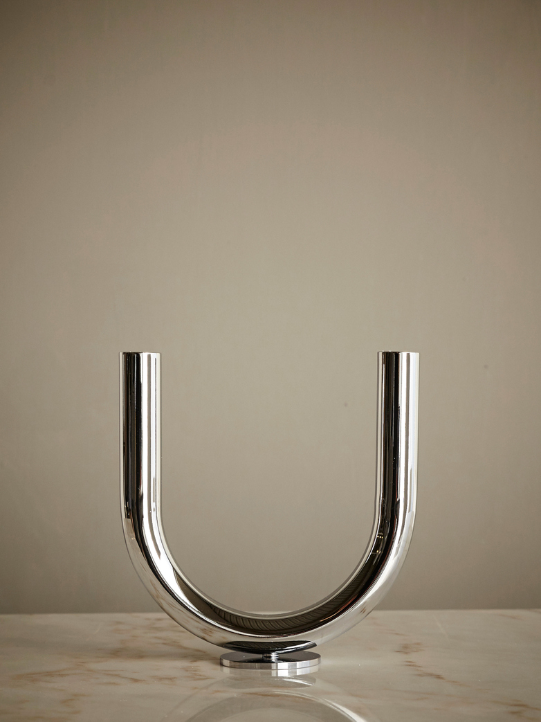 U Candleholder Chrome