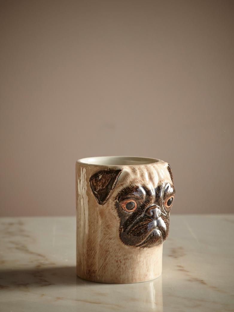 Pug Pencil Pot Fawn
