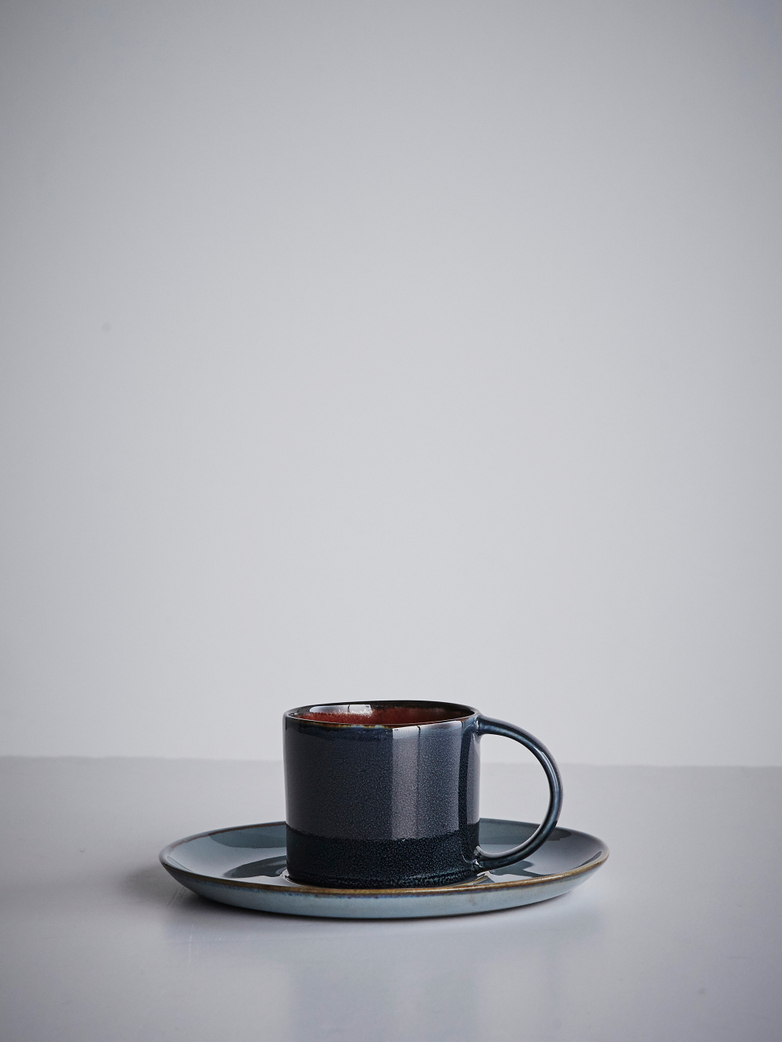 Terres de rêves - Espresso Cup With Saucer Dark Blue - Smokey Blue
