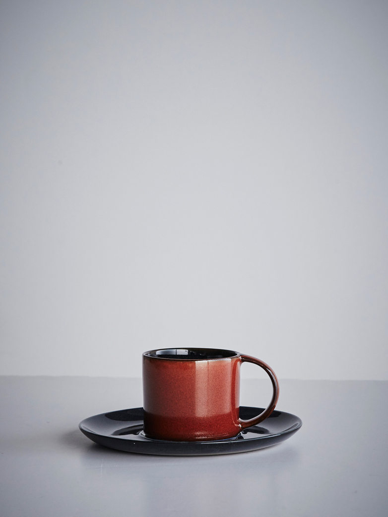 Terres de rêves - Espresso Cup With Saucer Rust - Dark Blue