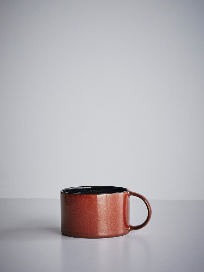 Coffee Cup With Saucer Dark Blue - Rust