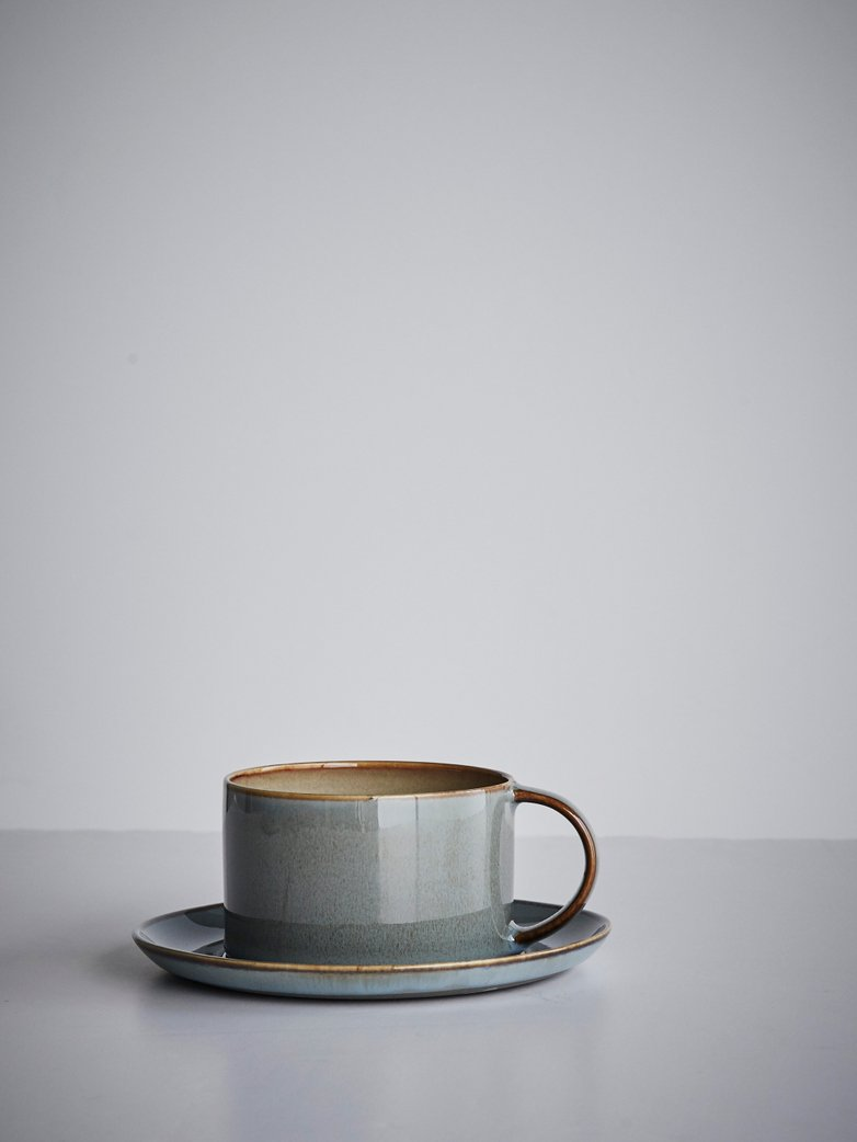 Coffee Cup With Saucer Misty Grey - Smokey Blue