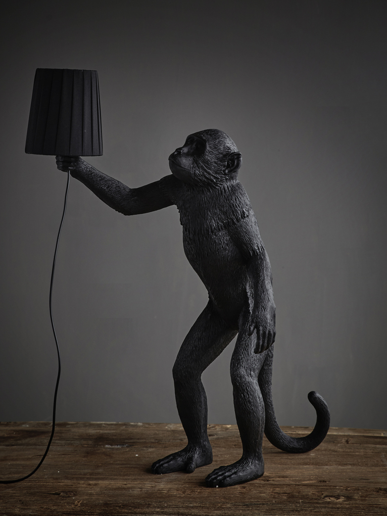 Monkey Lamp Standing with Shade - Black