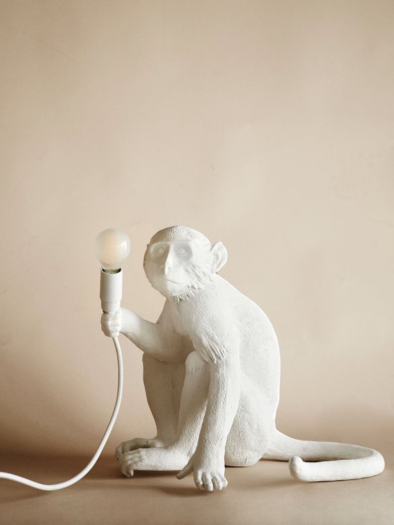 Monkey Lamp Sitting With Shade - White