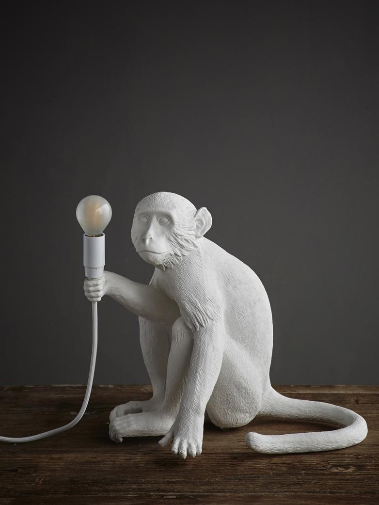 Monkey Lamp Sitting With Shade - White