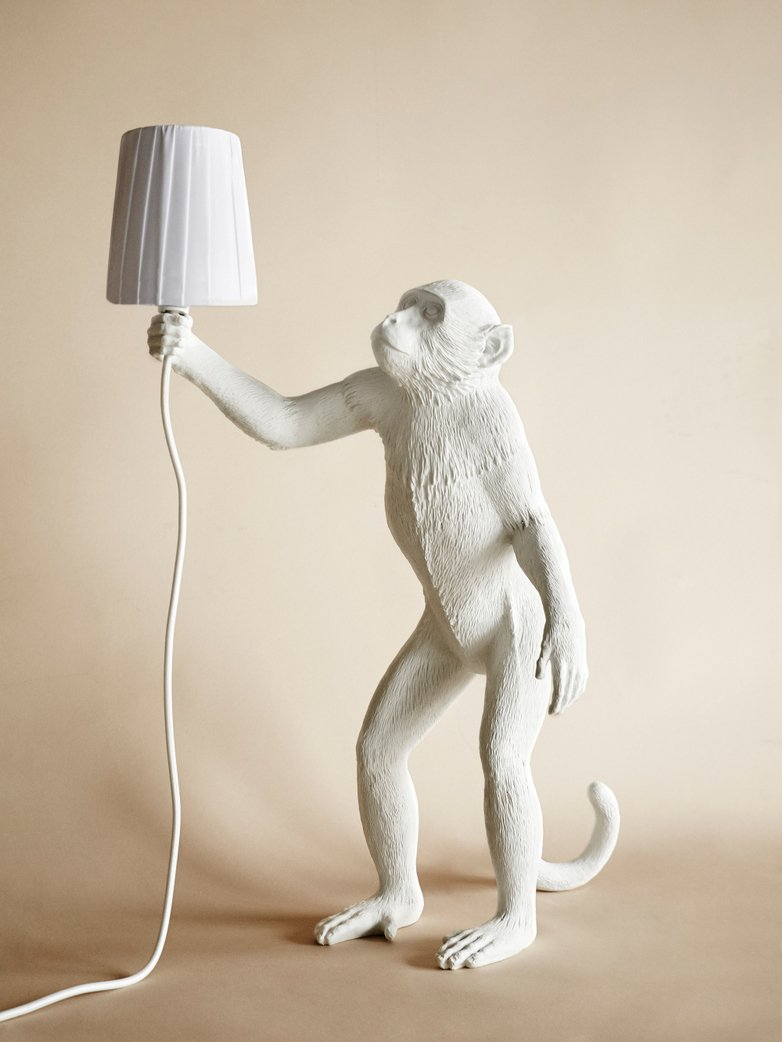 Monkey Lamp Standing with Shade  - White