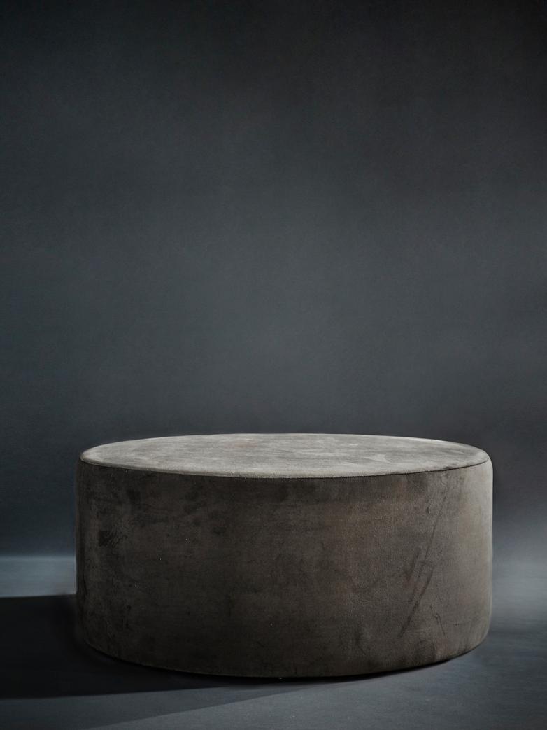 Round Pouf Brown Grey