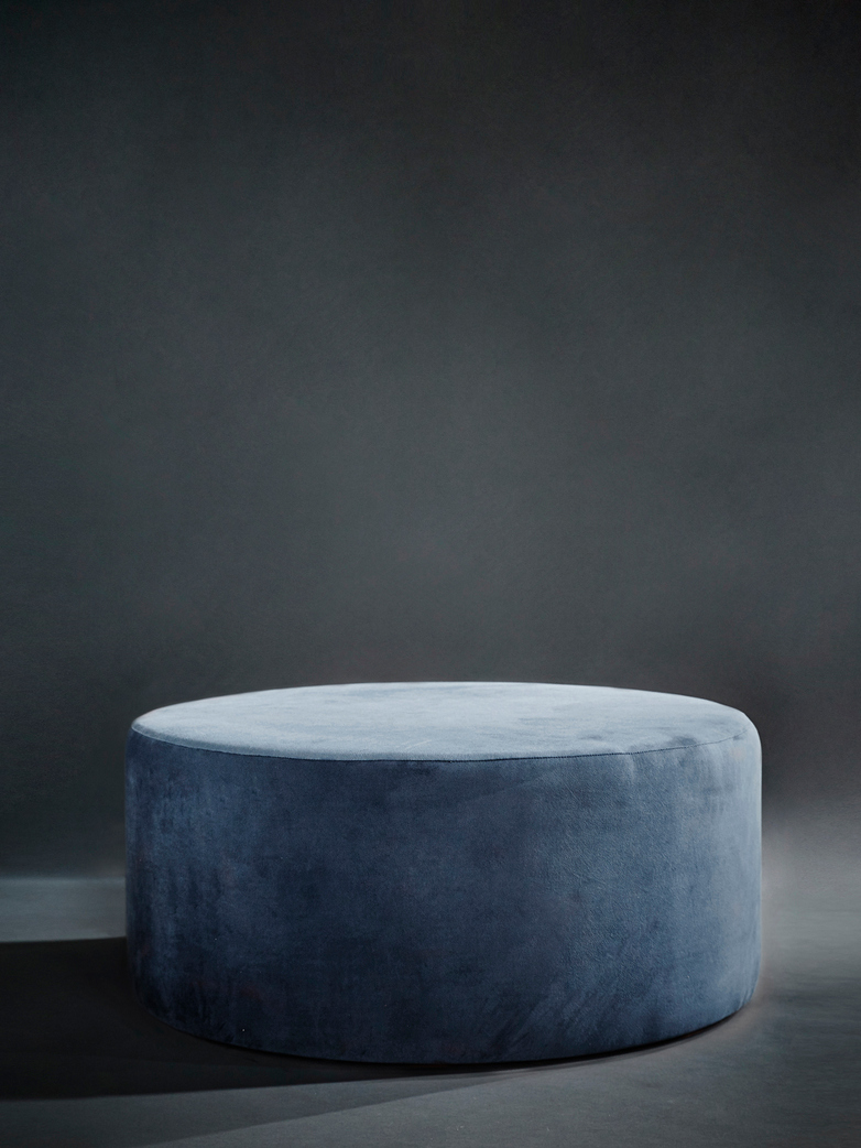Round Pouf Blue Grey