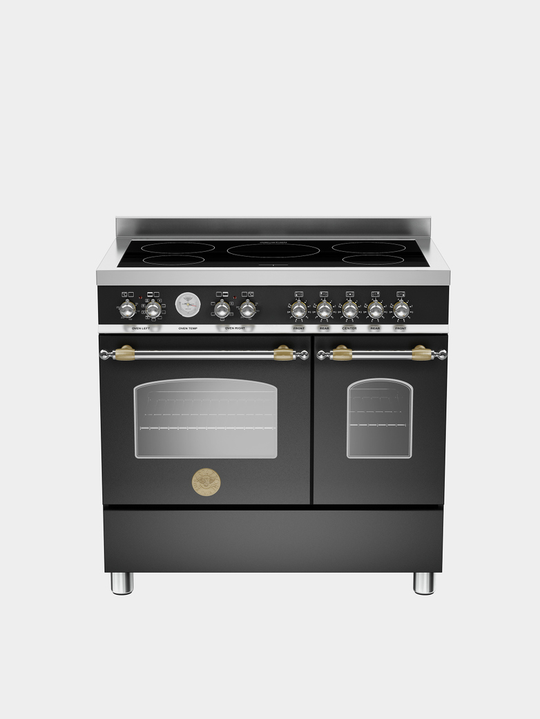 90 cm induction top electric double oven - Matt Black
