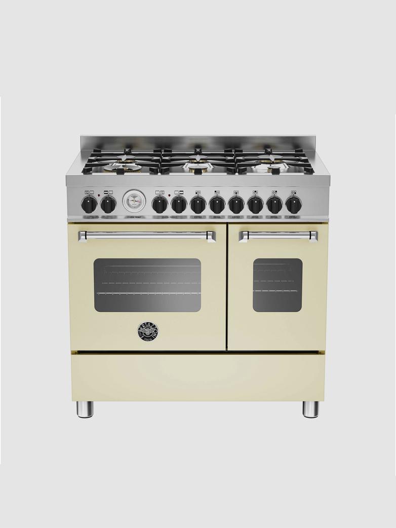 90 cm gasspis med dubbla ugnar, beige, Master-serien