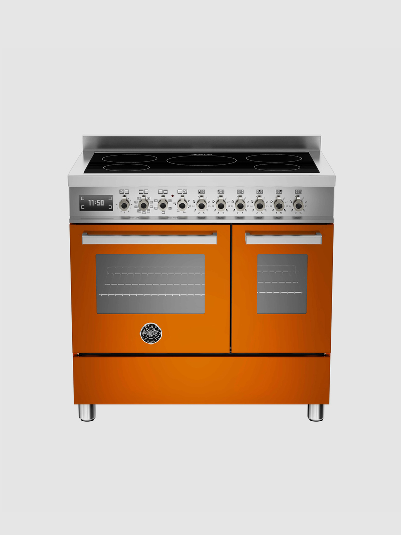 90 cm induktionsspis med dubbla ugnar, orange, Professional-serien