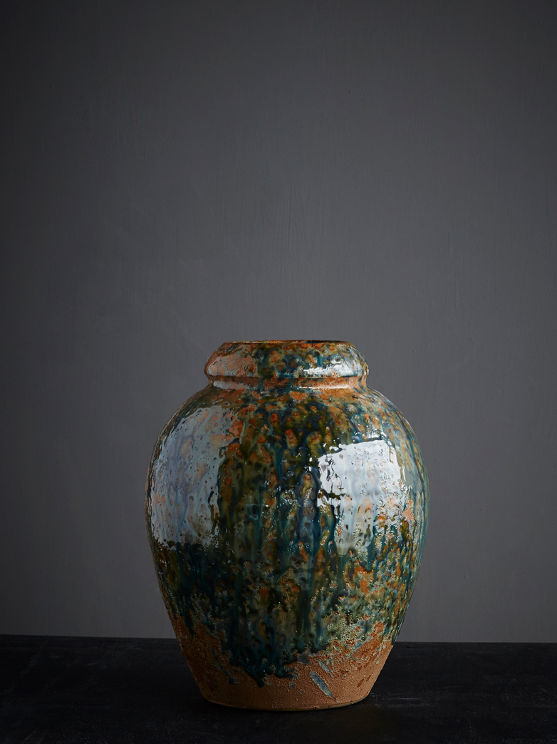 Vase Round Glazed Blue