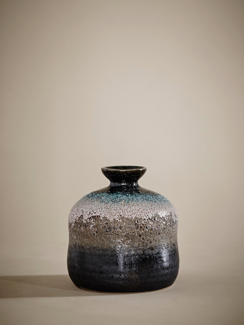 Volcano Ball Vase - Low Blue