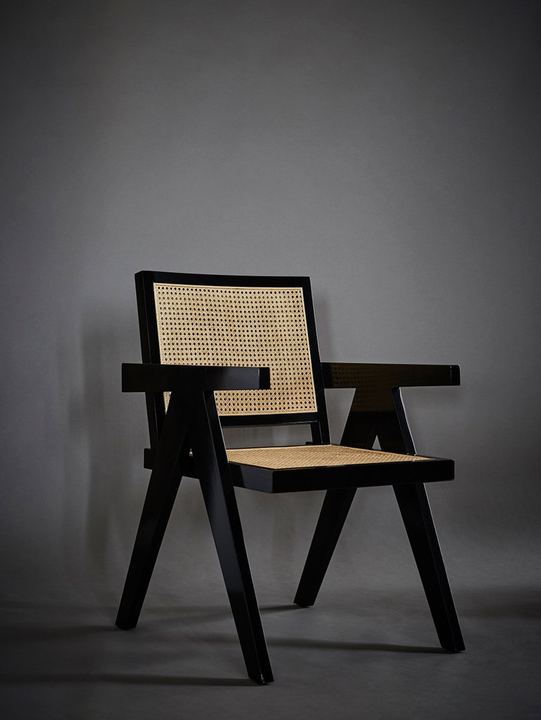 Dining Chair Black Finish Natural Cane
