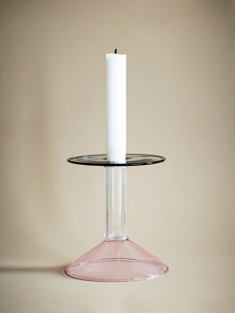 Rainbow Candleholder Small - Pink//Clay