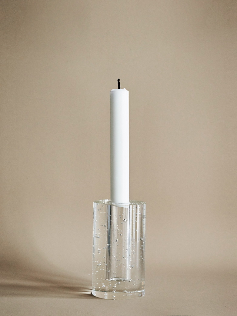 Candle Holder Bubble Glass Cylinder